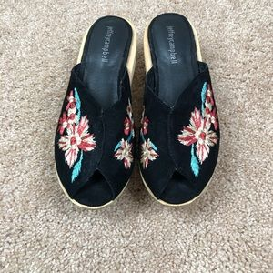 Jeffery Campbell Lanai embroidered wood wedge shoe